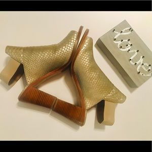 New Metallic Textured Leather Ankle Boots/Open Toe